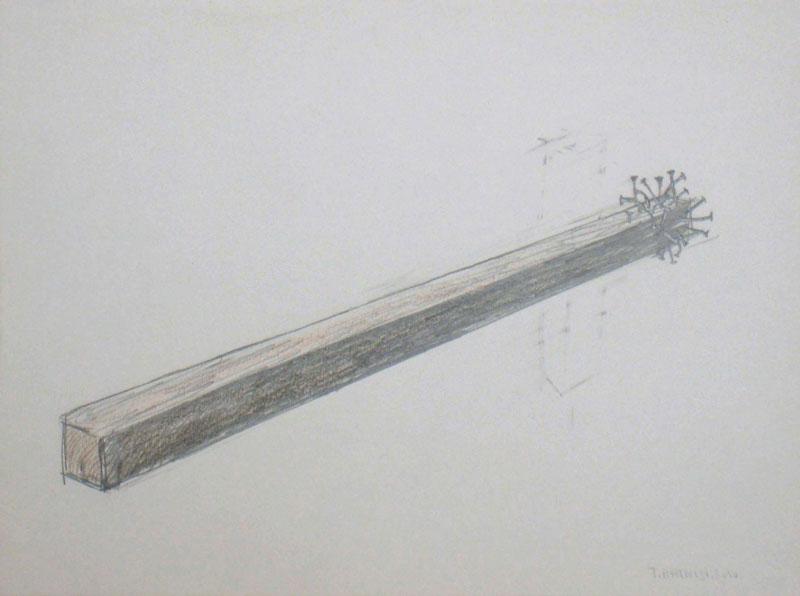 Taysir Batniji - Le monde n'est pas arrivé : Clous sur latte en bois, crayons sur papier.jpg
