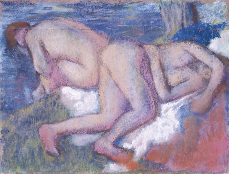 Collection Planque, l'exemple de Cézanne : Edgar Degas, Deux Femmes au bain, vers 1895, pastel sur papier, 58 x 77 cm. Fondation Jean et Suzanne Planque. Photo Luc Chessex