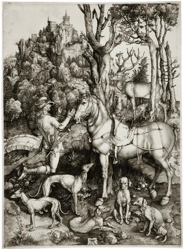 Cranach et Dürer graveurs : rivalité et émulation : Albrecht Dürer, Saint Eustache, gravure, Musée des Beaux-arts de la Ville de Paris, Petit Palais. © Petit Palais / Roger-Viollet