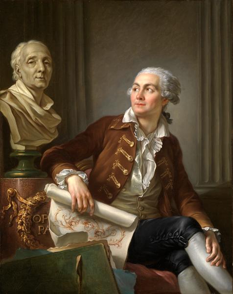 Le goût de Diderot – Chardin, Greuze, David… : Jean-Simon Berthélemy Portrait d'un artiste avec le buste de Diderot, après 1784 huile sur toile, 124,5 x 99 cm Staatlische Kunsthalle, Karlsruhe