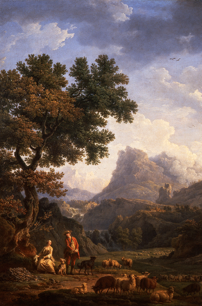 Le goût de Diderot – Chardin, Greuze, David… : Claude Joseph Vernet La bergère des Alpes, après 1770 huile sur toile, 119,5 x 80 cm Musée des Beaux-Arts, Tours © Musée des Beaux-Arts, Tours / P. Boyer Montlouis