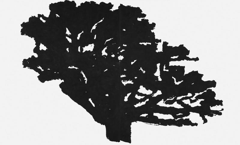 Alexandre Hollan  – L'expérience de voir : Le grand chêne de Viols-le-Fort, 2006, acrylique sur toile, 190 x 340 cm  (diptyque) © Illés Sarkantyu