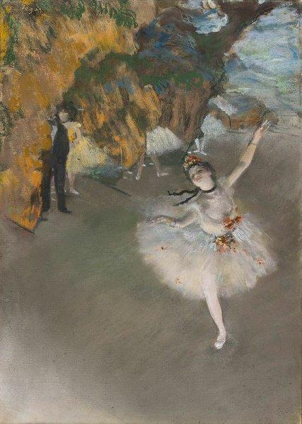 Degas, un peintre impressionniste? : Edgar Degas. Ballet, dit aussi L'Étoile. Vers 1876, pastel sur monotype, 58,4 × 42 cm. Paris, musée d'Orsay. © Paris, musée d'Orsay. Photo : Patrice Schmidt