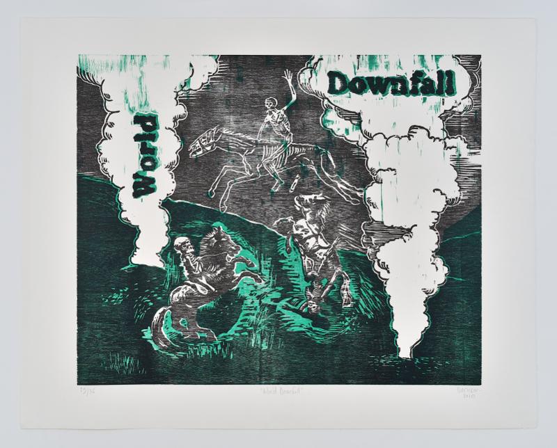 Damien Deroubaix. L'esprit de notre temps : Damien Deroubaix. World Downfall. 2010, xylogravure sur papier, 74 x 94 cm. Galerie In Situ-Fabienne Leclerc, Paris. © Rebecca Fanuele