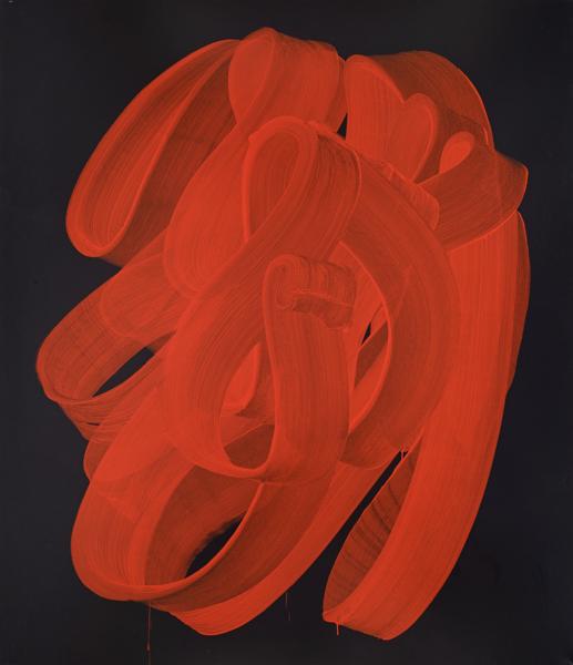 Najia Mehadji – Drapés : Drapé, 2012, craie à l'huile sur toile, 190 x 165 cm