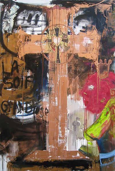 Raynald Driez. La Soif grandiose : Raynald Driez. Croix numéro 4. 2015, huile sur toile, 210 x 140 cm. © Galerie Polad-Hardouin