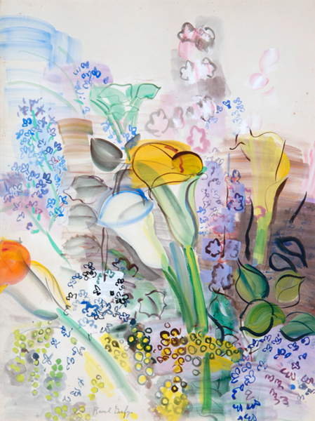 Raoul Dufy. Tissus et créations. : Raoul Dufy. Bouquet d'arums et fleurs des champs. Aquarelle et gouache sur papier, 65 x 44 cm. Collection particulière © Adagp, Paris 2015
