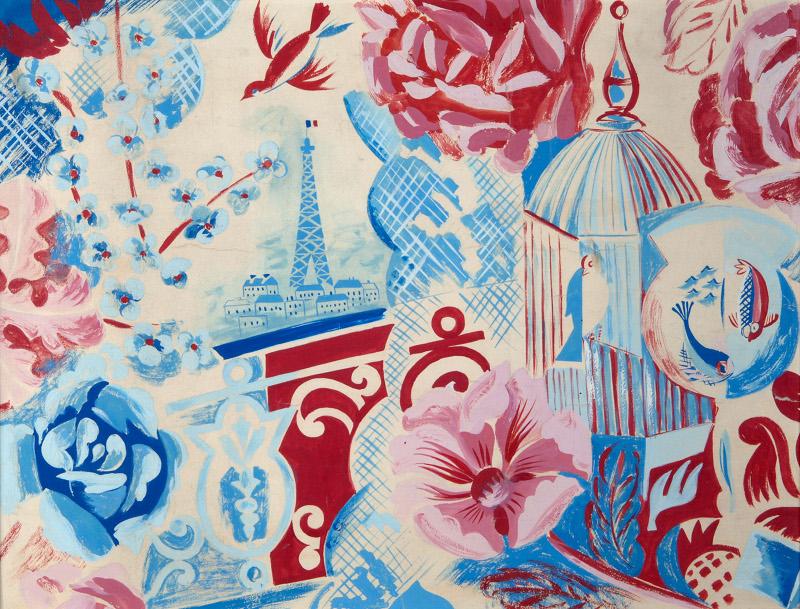 Raoul Dufy. Tissus et créations. : Raoul Dufy. Balcon de Paris ou Paris ou Coin de fenêtre. Vers 1925, huile sur toile, 50 x 65 cm. Collection particulière © Adagp, Paris 2015