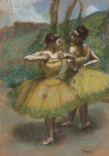 Edgar Degas : Edgar Degas Jupes jaunes (Deux danseuses en jaune), ca. 1896 Pastel and charcoal on joined paper 60,2 x 42,4 cmPrivate Collection
