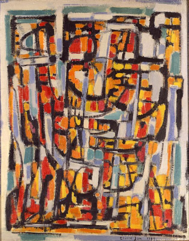 Traverser la lumière. Bazaine, Bissière, Elvire Jan, Le Moal, Manessier et Singier. : Elvire Jan (1904-1996) Personnages. 1950, huile sur toile, 81 x 65 cm. Collection particulière. Photo : Zina Galai/Studio Curchod, Vevey (CH)