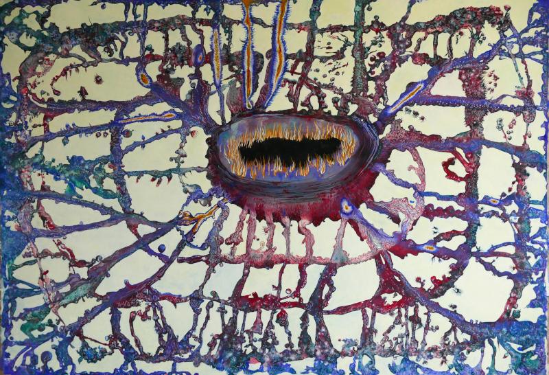 L'effet falaise. Bourse Révélations Emerige 2019 / 5 ans. Rétrospective des lauréats des 5 premières éditions : Lucie PICANDET Nexus 4 - Celui que je suis - Paysages intérieurs 2.4, 2017 Aquarelle sur papier Cadre : 134,5 x 194 cm