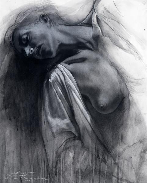 Résonance, de l'original au multiple : Ernest Pignon-Ernest Etude pour Catherine de Sienne, 2008 Encre et pierre noire sur papier et photographie  dessin : 79 x 63 cm / encadré : 103 x 88 cm / photo enc. : 48 x 60 cm