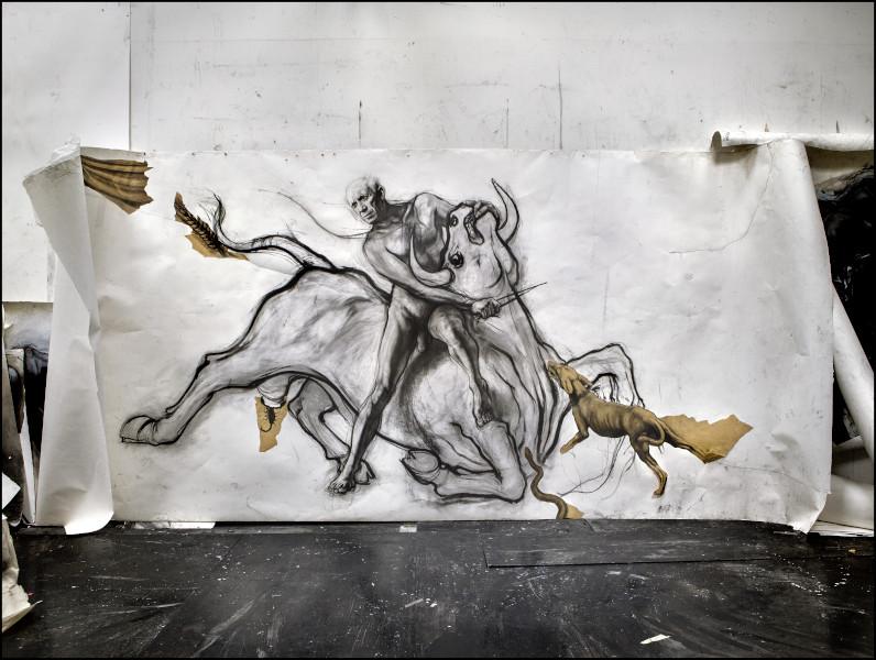Picasso, l'atelier du Minotaure : Ernest Pignon-Ernest, Picasso-Mithra, 1992 Dessin au fusain Collection particulière © N'Guyen