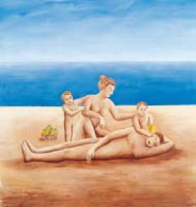 Louis Cane, artiste peintre : Eve, Adam, Caïn et Abel sur la plage 1998