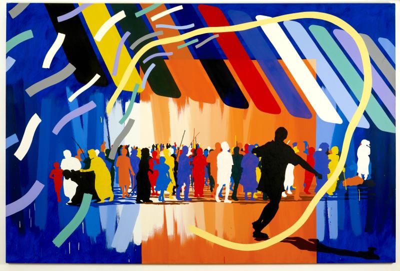 Est-ce ainsi que les hommes vivent ? : Gérard FROMANGER, Le Dipri de Gaumont, 1988. Huile sur toile, 200 cm x 300 cm.