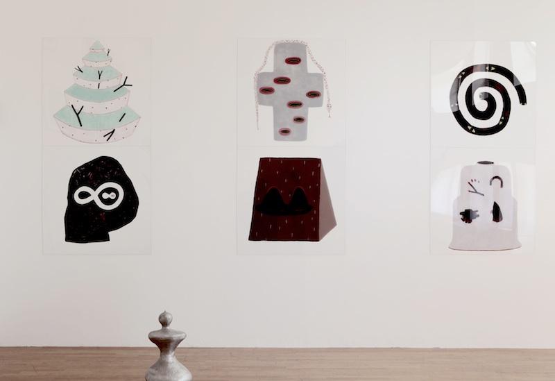 Fabula Graphica 3 : François Bouillon, série «Emblemele», 2004-2010, peinture sur altuglass, 110 x 110 cm. Collection de l'artiste, Bagnolet. Courtesy galerie Bernard Jordan. Henk VISCH, Anna, 1997. Collection de l'artiste, Eindhoven.