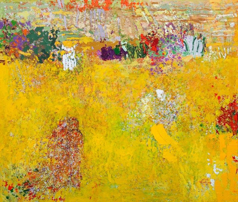 Fatima El-Hajj, Les jardins de l'âme - Hommage à Shafic Abboud. : Fatima EL-HAJJ, Une promenade, 2011. Huile sur toile, 150 x 175 cm.