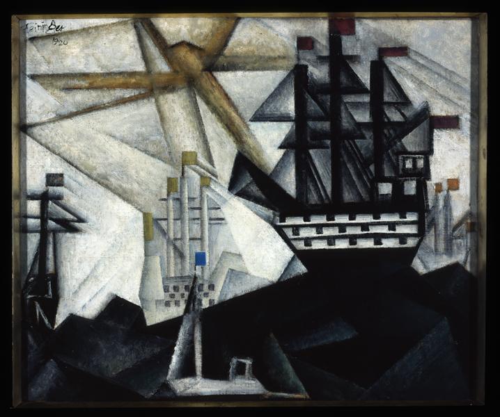 Lyonel Feininger. L'Arpenteur du monde : Lyonel Feininger. Flotte de guerre. 1920, huile sur toile, 40 x 48 cm. Collection particulière