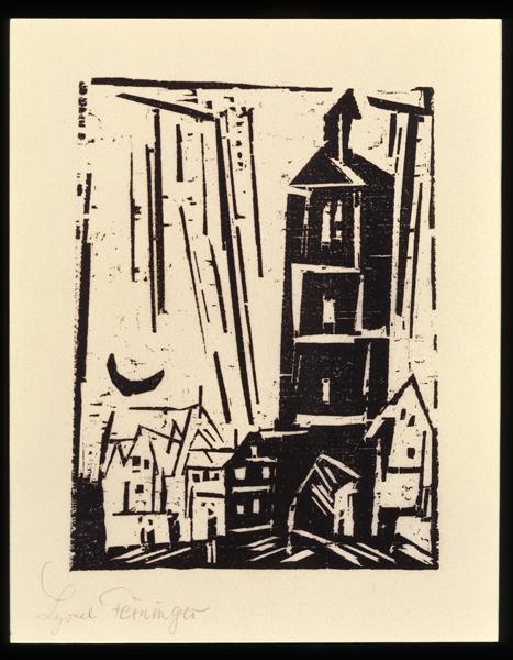 Lyonel Feininger. L'Arpenteur du monde : Lyonel Feininger. Maisons et croissant de lune.                                            1920, bois gravé sur papier, 13,3  x  9,8 cm.   Collection particulière