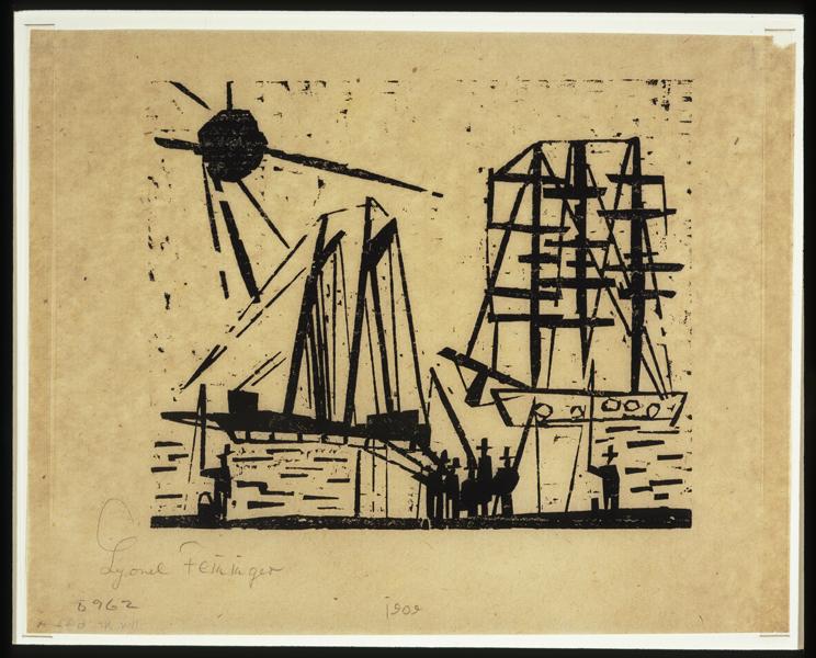 Lyonel Feininger. L'Arpenteur du monde : Lyonel Feininger. Pêcheurs (avec soleil et bateaux). 1919, bois gravé sur papier marron, 16,2 x 19,8 cm.  Collection particulière