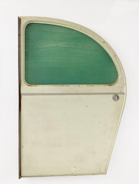 Collection LGR : Pierre Buraglio, Paysage (2CV), 1992-1993, porte de 2CV, vitre, peinture, 104 x 68 x 3 cm © ADAGP, Paris, 2013.  Photo F. Fernandez