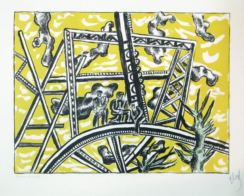 Les murs de la cité. Blues et Renaissance : Fernand Léger. L'échafaudage au Soleil. 1951, lithographie en couleur. Collection Musée de Gravelines.