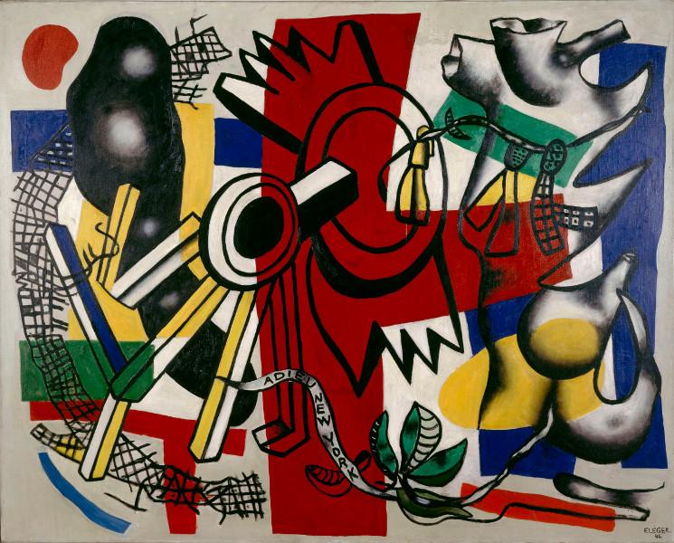 Fernand Léger : reconstruire le réel : Fernand Léger, Adieu à New York, 1946, Huile sur toile, 130x62 cm, Paris, musée national d'art moderne - Centre Georges Pompidou © Centre Pompidou, MNAM-CCI, Dist. RMN-Grand Palais / Jacques Faujour / Adagp, Paris, 2014