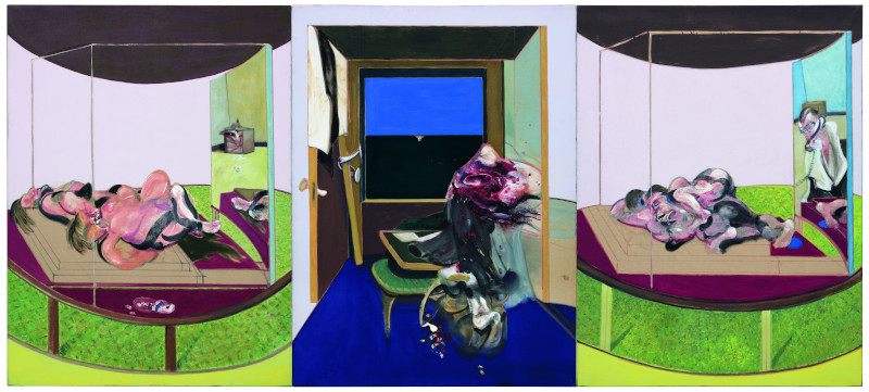 Bacon en toutes lettres : Francis Bacon Triptych inspired by T.S Eliot's poem, Sweeney Agoniste, 1967 Huile et pastel sur toile, 198 x 147 cm Hirshhorn Museum and Sculpture Garden - Smithsonian Institution, Washington © The Estate of Francis Bacon /All rights reserved / Adagp, Par