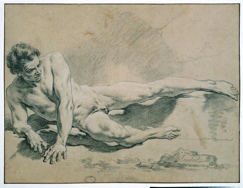 Nus académiques : François Boucher - Homme couché sur son bras droit, 1735