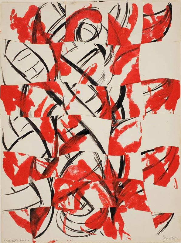 François Rouan, Découpe / modèle - 1965 / 2009 : Tressement rouge et noir, 2002 gouache et encre sur papier, tressement, 32,5 x 24 cm courtesy galerie Jean Fournier