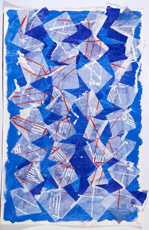 François Rouan, Découpe / modèle - 1965 / 2009 : Blanc sur violet sur bleu, sur blanc, 1967 gouache et crayon sur papier de soie et canson, 51 x 34 cm courtesy galerie Jean Fournier