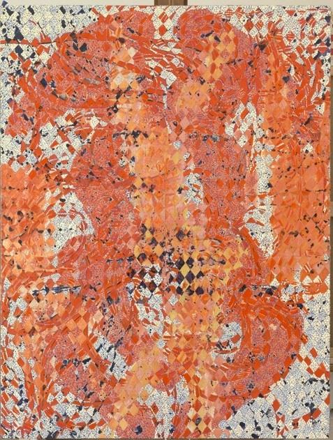 François Rouan, la découpe comme modèle : Odalisque Flandres 3, 2009-2010, peinture à la cire sur toiles tressées, 165,5 x 126,5 cm. Collection particulière