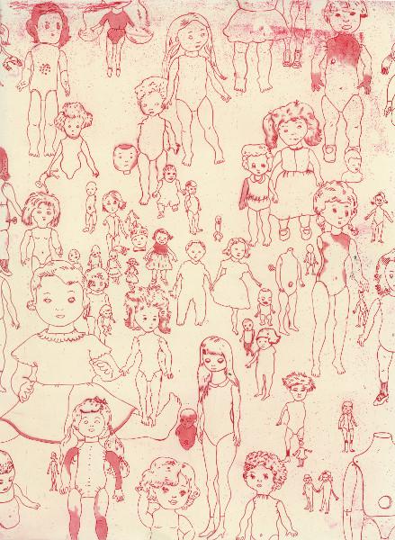 Françoise Pétrovitch, après les jeux : Françoise Pétrovitch. Poupées. 2014, eau-forte et pointe sèche. © Edition et collection Musée du dessin et de l'estampe originale, Gravelines