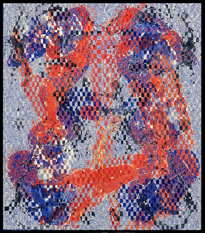 François Rouan, la découpe comme modèle : Odalisque Flandres 4, 2009-2010, peinture à la cire sur toiles tressées, 170 x 148,5 cm. Collection particulière