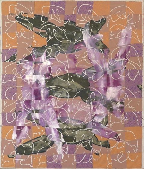 François Rouan, la découpe comme modèle : Odalisque Flandres 1, 2009-2010, peinture à la cire sur toiles tressées, 189 x 119,5 cm. Collection particulière