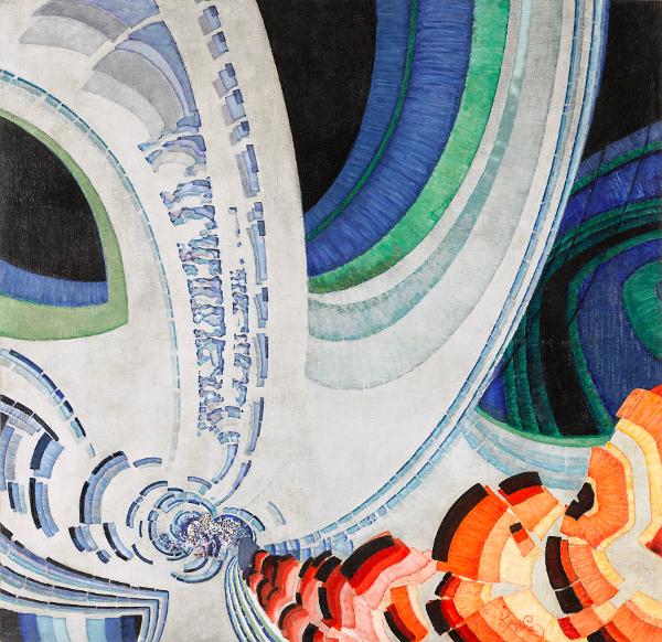Modernités plurielles. 1905-1970 - Nouvel accrochage des collections permanentes : Frantisek KUPKA 1871, Opocno (Autriche-Hongrie) – 1957, Puteaux (France) Lignes animées 1920 / 1933 Huile sur toile 193x200 cm Achat, 1957 © ADAGP, Paris 2013