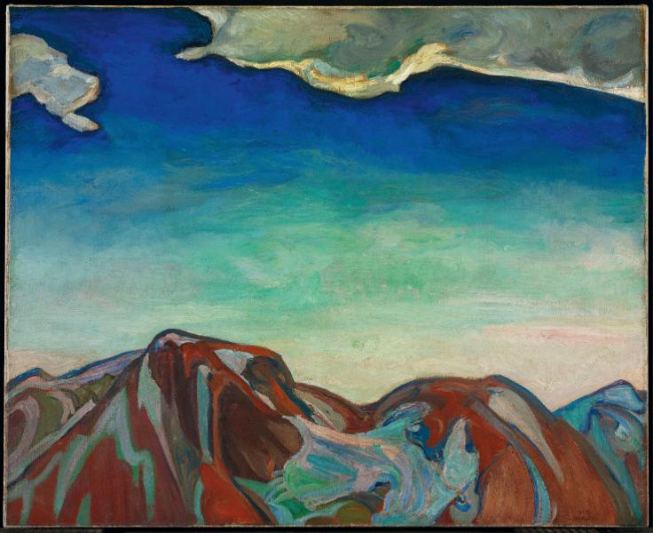 Au-delà des étoiles. Le paysage mystique de Monet à Kandinsky : Frederick Horsman Varley, Le Nuage. La montagne rouge, 1927, Huile sur toile, 87 x 102,2 cm Toronto, Collection Art Gallery of Ontario, bequest of Charles S. Band, Toronto, 1970