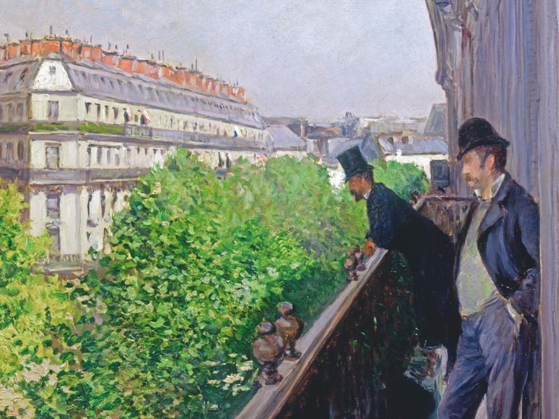 Gustave Caillebotte, impressionniste et moderne : Balcon, Boulevard Haussmann, 1880 Huile sur toile, dim. 69cm x 62cm Collection particulière © Galerie Brame et Lorenceau, Paris