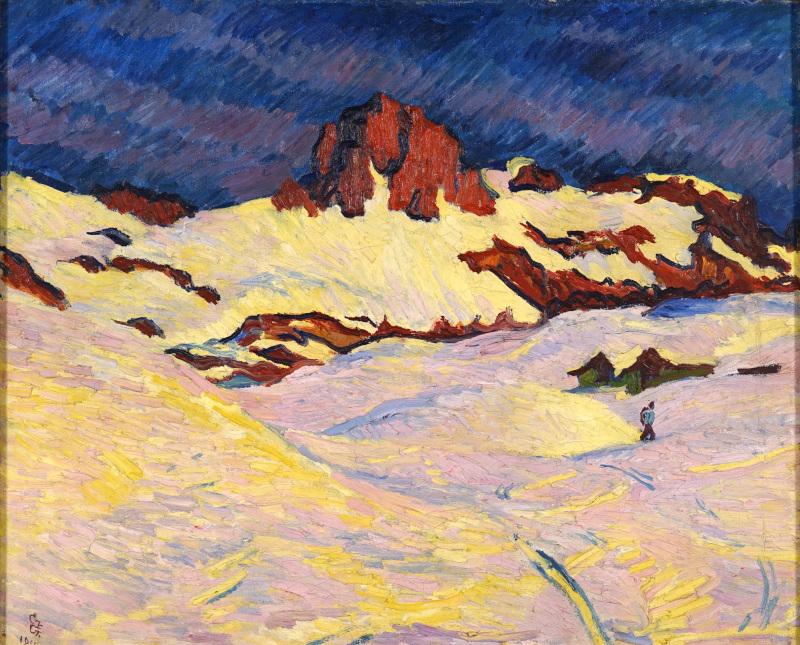 La Montagne fertile. Les Giacometti, Segantini, Amiet, Hodler et leur héritage. : Giovanni Giacometti : Paysage de neige (soleil), 1910 © Stiftung für Kunst, Kultur und Geschichte, Winterthour.