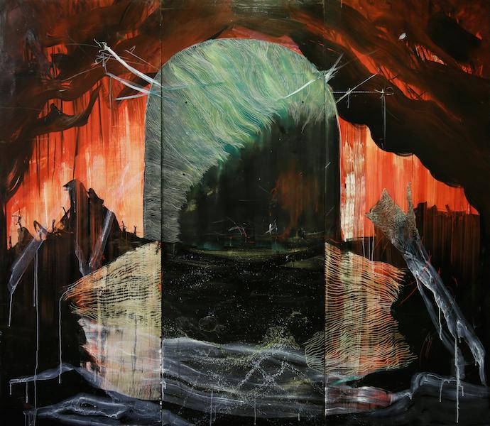 Recueillir les histoires : Cristine Guinamand, La?-bas, tryptique, huile et gravure sur me?dium, 205x238 cm, 2013-2018, atelier de l'artiste