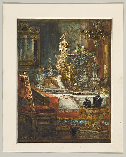 Gustave Moreau – Les Fables de La Fontaine : Gustave Moreau (1826-1898) Le Rat de ville et le Rat des champs, 1881 Aquarelle, dim. 30,7 × 23,4 cm Collection particulière © Jean-Yves Lacôte