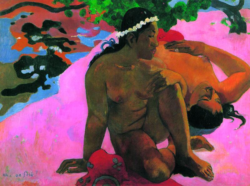 Paul Gauguin : Paul Gauguin. Aha oe feii? Eh quoi! Tu es jalouse? 1892, huile sur toile, 68 x 92 cm. Musée d'État des beaux-arts Pouchkine. Moscou