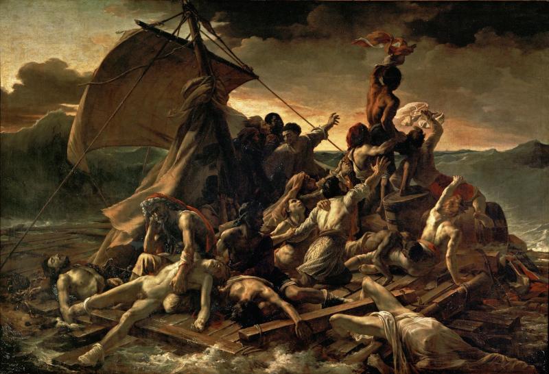 Girodet face à Géricault ou la bataille romantique du Salon de 1819 : The?odore Ge?ricault. Le radeau de la Me?duse. 1819, huile sur toile, 491 x 716 cm. Muse?e du Louvre, Paris