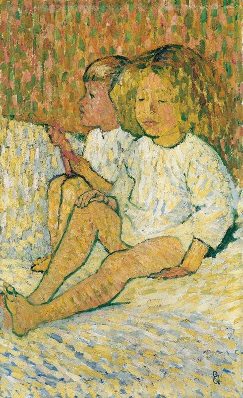 Van Gogh, Bonnard, Vallotton... La collection Arthur et Hedy Hahnloser : Giovanni Giacometti, Enfants au lit, 1907, huile sur eternit, 55 x 33,5 cm collection privée © photo Dominique Uldry, Berne