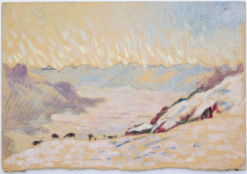 La Montagne fertile. Les Giacometti, Segantini, Amiet, Hodler et leur héritage. : Giovanni Giacometti : Vue depuis Soglio vers l'Italie, 1921, © Museo Ciäsa Granda, Stampa.