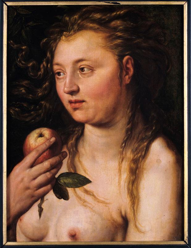 Quand Eve retrouve Adam, deux pendants de Goltzius : Eve Hendrick Goltzius, Eve, Huile sur bois (chêne), 51 × 38,5 cm, Monogrammé en haut à droite : HG. Strasbourg, Musée des Beaux-Arts. Photo : N.Fussler