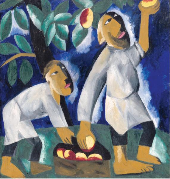 De Chagall à Malévitch, la révolution des avant-gardes : Natalia Gontcharova. Paysans ramassant des pommes. 1911, Huile sur toile, 104,5 x 98 cm. Galerie nationale Tretiakov, Moscou. © Galerie nationale Tretiakov, Moscou / © ADAGP, Paris 2015