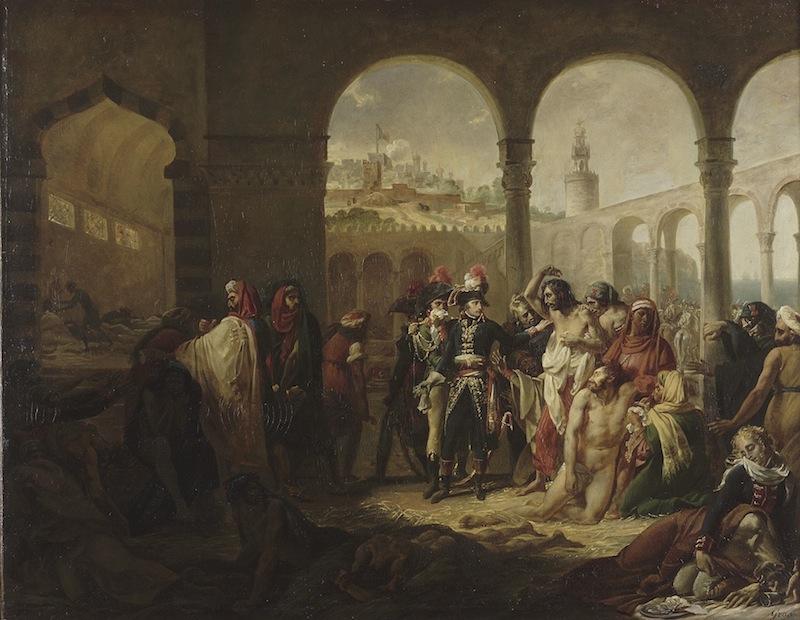 Delacroix à l'aube de l'orientalisme : Antoine-Jean Gros (Paris, 1771 – Meudon, 1835), Bonaparte touchant une tumeur pestilentielle, en visitant les pestiférés dans l'hôpital de Jaffa, dit aussi Les Pestiférés de Jaffa, esquisse du tableau du Salon de 1804 (Louvre) Toile. H. 91 cm ; L. 116 cm.