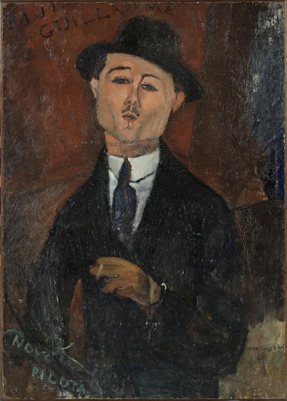 Les Secrets de Modigliani : Amedeo Modigliani. Paul Guillaume, novo pilota. 1915, huile sur carton contrecollé sur contreplaqué parqueté, 105 x 75 cm. Musée de l'Orangerie, Paris.
