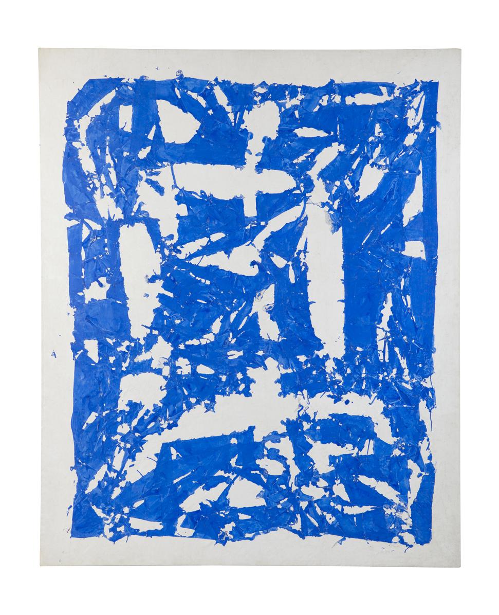 Les affranchis, un choix dans les collections du Frac Auvergne : Simon Hantaï « Tabula » bleu 1981 Acrylique sur toile 235 x 191 cm Collection FRAC Auvergne (c) adagp , Paris 2011 photo: Ludovic Combes